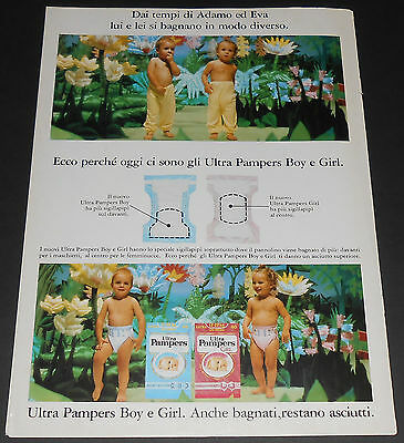 1988 vintage ad page - ULTRA PAMPERS BOY GIRL BABY DIAPERS - ITALY 1-PAGE PRINT