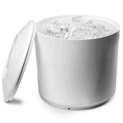 Round Ice Bucket White 6 pint| Plastic Ice Cube Bucket Wine Cooler with Lid