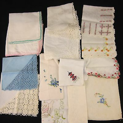 Vintage Handkerchief Lot of 14 with Embroidered, Scalloped, Decorative Edging