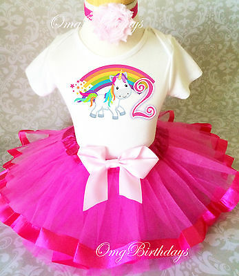 Cute Unicorn Horse Pony Pink 2nd Birthday Shirt Tutu Outfit Set Party Girl