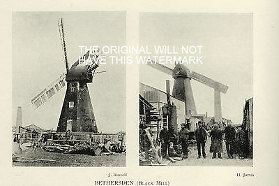 OLD WINDMILLS BETHERSDEN BLACK MILL KENT 1920's  ANTIQUE MOUNTED PRINT 85YRS OLD