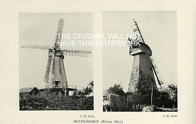 Old Windmills Bethersden White Mill Kent Before Blown Down Antique Mounted Print