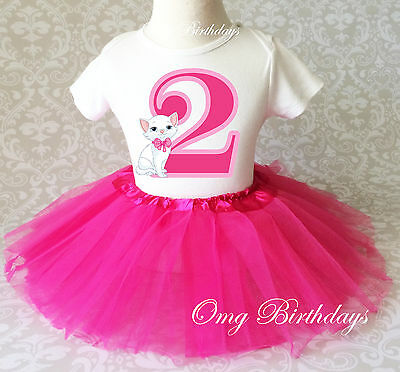 Cat Kitten Pink White Cute Kitty Girl 2nd Second Birthday Shirt Tutu Outfit Set