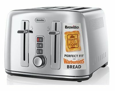 Breville VTT571 Warburtons Perfect Fit Crumpets Bagels 4 Slice Wide Slot Toaster