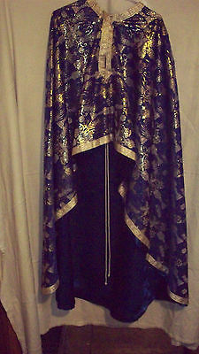 Beautiful Blue Priests Vestment Set Complete, Made in Romania!   NEW!