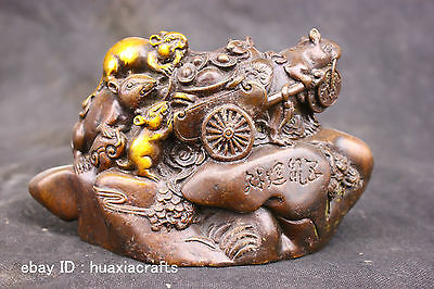 Chinese Fengshui Old Antique Copper Brass Statue Lucky Money Mouse Sculpture