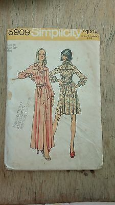 Vintage Simplicity Womens Dress Pattern 5909 Size 16 Free Shipping