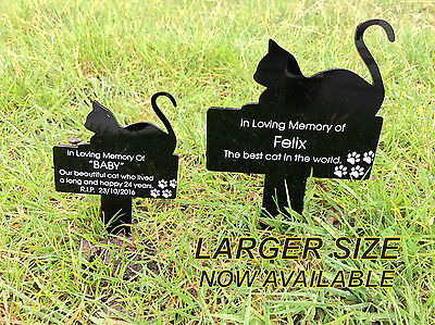 Personalised Engraved Acrylic LARGE Cat Sitting Memorial Plaque