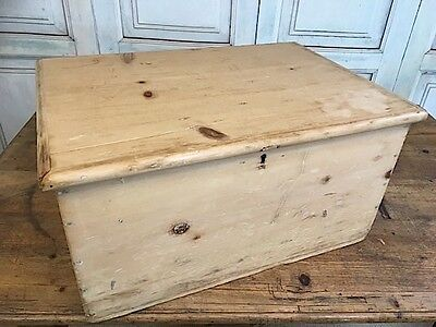 Victorian Stripped Pine Lift Top Chest, Trunk, Small Blanket Chest