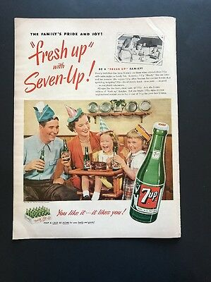7 Up   1951 Vintage Print Ad   Color Image Family Party