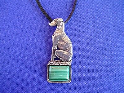Saluki Sitting necklace 15M Malacite Pewter DOG Jewelry  by Cindy A. Conter