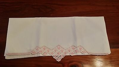 Single Vintage Hand Crochet Pink Rose Trim Pillowcase Free Shipping