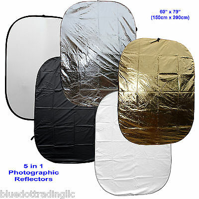 "US SELLER! Large 60x79"" 5-in-1 Collapsible OVAL Reflector Disc Set 150x200cm"