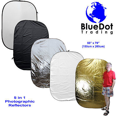 "5-In-1 60x79"" Collapsible Multi Lighting Reflector Kit Photo Photography FREESH"