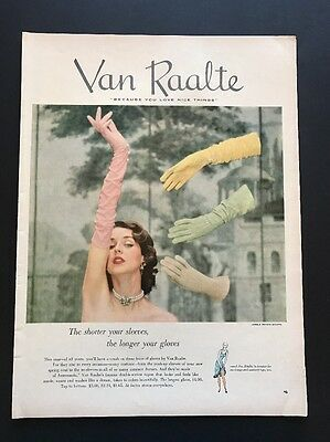 Van Raalte | 1951 Vintage Print Ad | Color Fashion Beautiful Woman Gloves