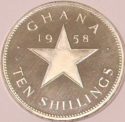 1958 Ghana Proof Sterling Silver 10 Shilling - Independence of Ghana - KM# 7