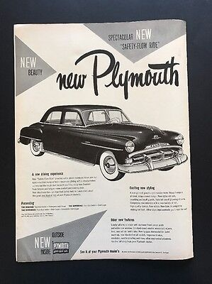 Plymouth | 1951 Vintage Print Ad | B&W Illustration Automobile Car