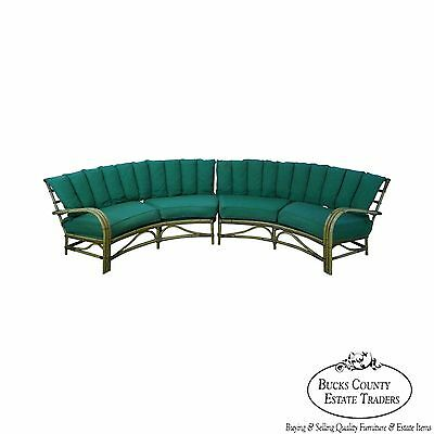 Mid Century Modern Carved Semi Circle Rattan Sectional Sofa