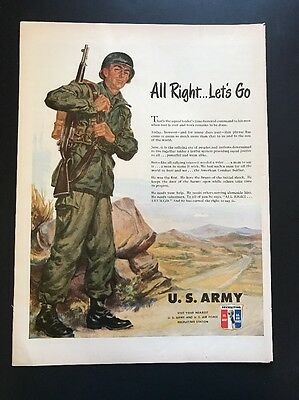 Army | 1951 Vintage Print Ad | Color Illustration Recruiting Army Air Force