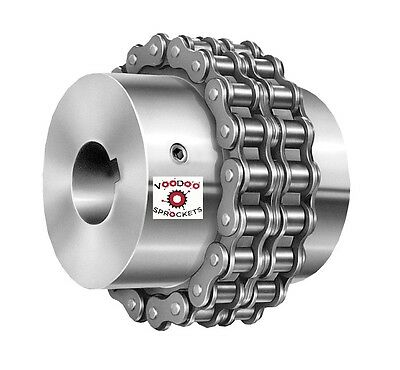 "G&G Complete Dbl Roller Chain Coupler Sprocket. 40 Chain 1"" Finished Round Bore"
