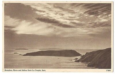 Brecqhou, Herm and Jethou from La Coupee, Sark, Old Postcard by Salmon Unused