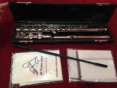 Serviced Silver Flute Cranes Hard Case Cleaning And Polishing Cloth And Stick