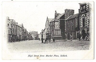SELKIRK High Street From Market Place, Old Postcard Unused