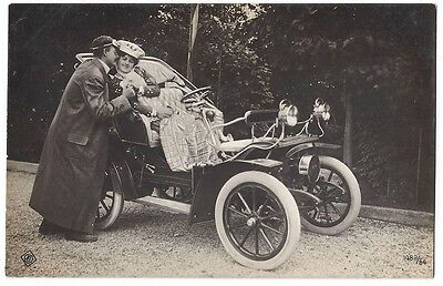 EARLY MOTOR CAR Old RP Postcard of Gentleman with Goggles & Lady