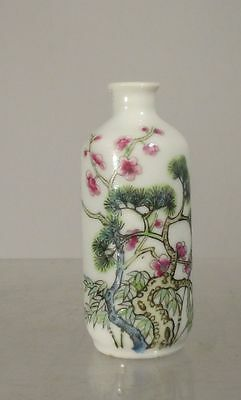 Antique Chinese Porcelain Snuff Bottle Three Friends of Winter Jiaqing Mark