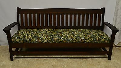 Antique Mission Arts and Crafts Solid Oak Bench Sofa Settee