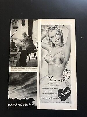Lovable Brassiere Company | 1951 Vintage Print Ad | Illustration Beautiful Woman