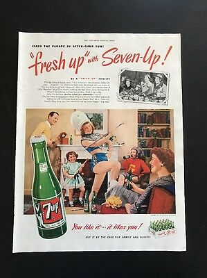 7 Up   1951 Vintage Print Ad   Soft Drink Family Theme