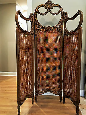 Genuine Antique: Carved Wood, 3 Section Room Divider Fine Furniture
