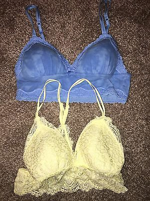 bff1f9fa14 Lot Of 2 Aerie Bralettes Padded Wireless Cotton Lace Blue Yellow Sz Small