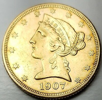 1907-D $5 Gold Liberty Head Half Eagle-Mint State Uncirculated-Free USA Shipping