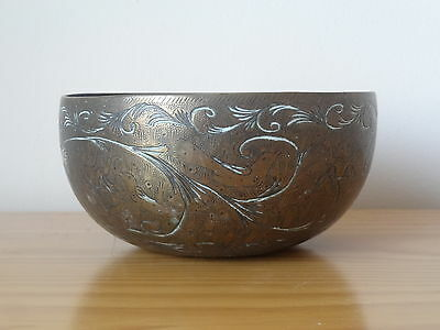 c.19th - Antique Vintage India Indian Brass Hand Engraved Pot Bowl
