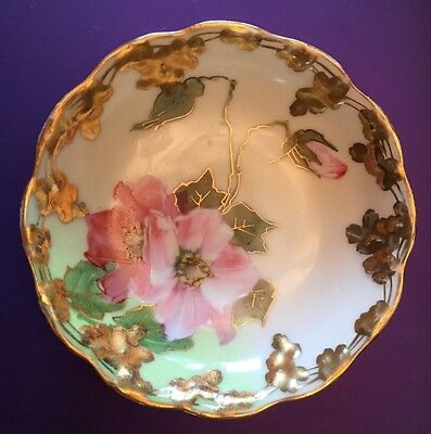 Beautiful Floral Antique Prussian Bavarian Style Candy Dish w Heavy Gold Accents