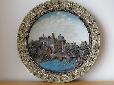 c.19th - Antique German Ceramic Wall Plaque Marburg by Wilhelm Schiller & Sohn