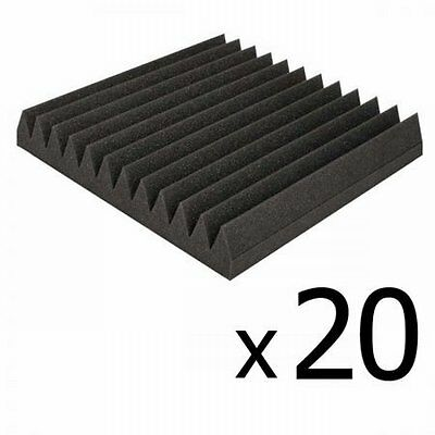 NEW 20x Recording Studio 12 Teeth Wedge Sound Acoustic Foam 30 x 30cm - Charcoal