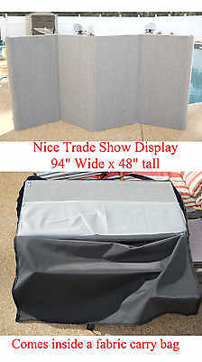 """GRAY 4-Panel 94""""x48"""" Folding Trade Show Backdrop Booth Exhibit Display Pre-owned"""