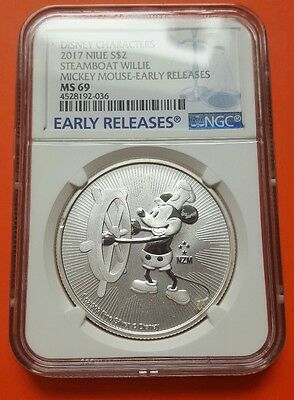 2017 Niue $2 1 oz .999 Silver Mickey Mouse Steamboat Willie Coin NGC MS69 ER