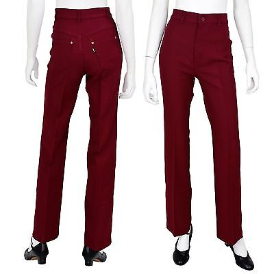 """1970s Vintage Womens 2 26"""" Levi's Wine Red High Waist Disco Pants Bell Bottoms"""