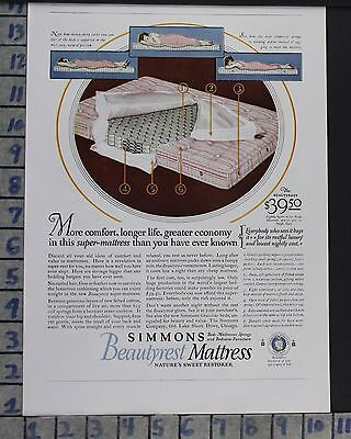 1925 Simmons Beautyrest Mattress Sleep Bedroom Home Decor Vintage Art Ad  Cr73