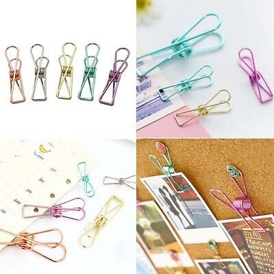 5PCS Novelty Solid Hollow Metal Binder Clips Notes Paper Clip Office Supplies