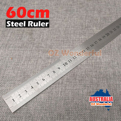 600mm 24'' inches Double Side Silver Stainless Steel Metal Measuring Ruler Tool