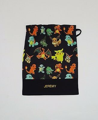 $ Free Name Pokemon All Over Black Personalised Embroidery Library Bag Fd