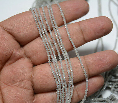 2mm Approx Grey Moonstone Micro Faceted Rondelles Beads 13.5 Inches Strands