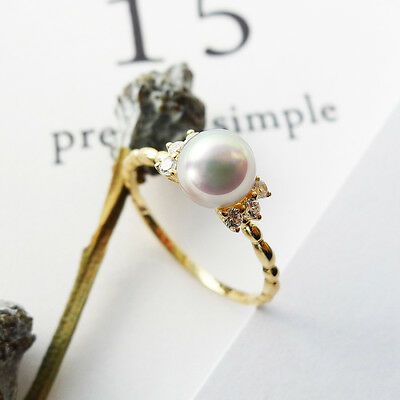 6-6.5MM AAA Real White Genuine Akoya Cultured Pearl Ring 14K Solid Yellow Gold