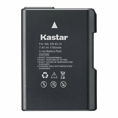 1x Kastar Battery for Nikon EN-EL14 D3100 D3200 D3300 D3400 D5100 D5200 D5300