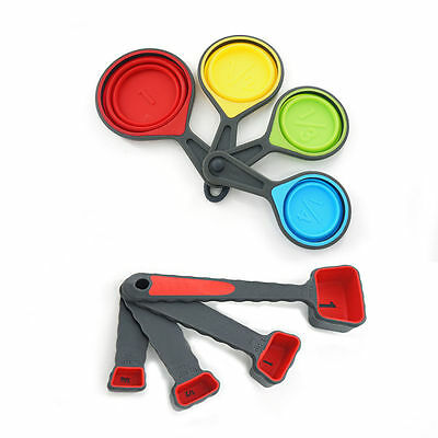 8 Pcs Safe Healthy Collapsible Silicone Measuring Cups & Spoons Set Kitchen Tool